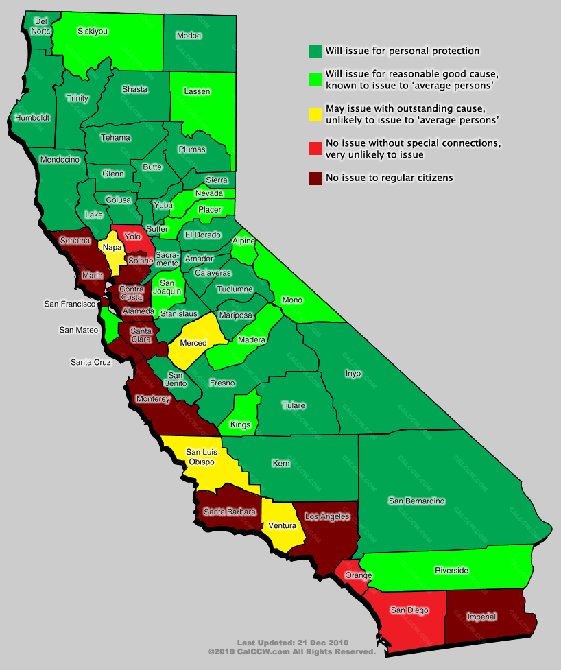 Local Variation in Concealed Carry of Weapons in California | Gun ...