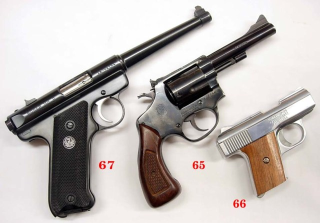 Three handguns