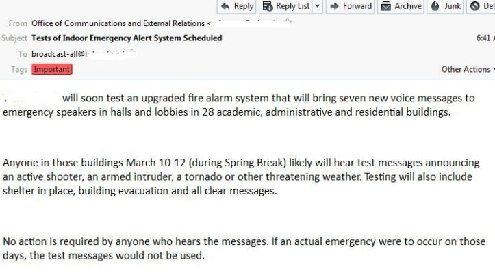 Active Shooter Email