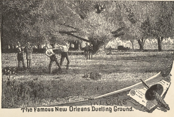 "Drawing from ""DUELLING in OLD New Orleans,"" by Stuart O. Landry. Harmanson, Publisher. 1950."