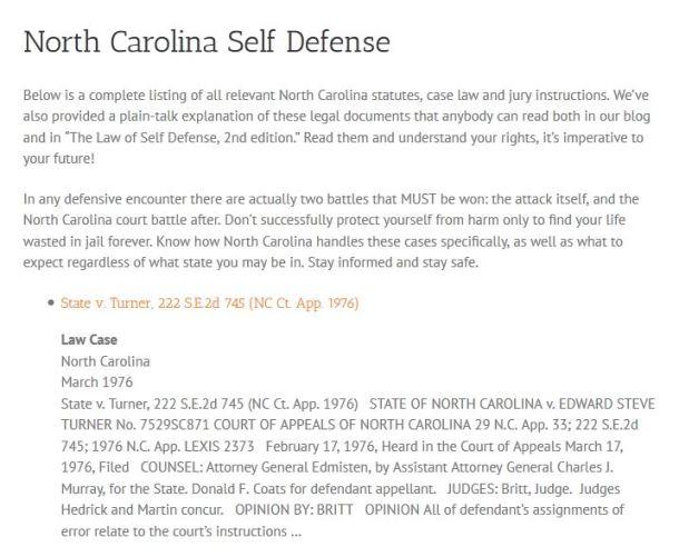 NC Self Defense LOSD Snippet