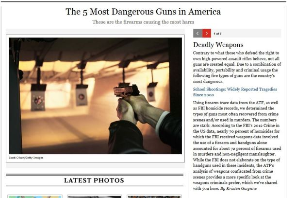 Screen capture from http://www.rollingstone.com/politics/pictures/the-5-most-dangerous-guns-in-america-20140714
