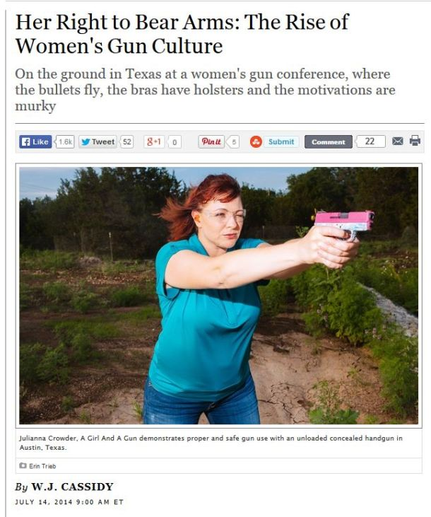 Screen capture from http://www.rollingstone.com/politics/news/her-right-to-bear-arms-the-rise-of-womens-gun-culture-20140714