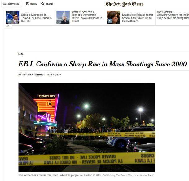 NYT Mass Shooting Headline FBI Report