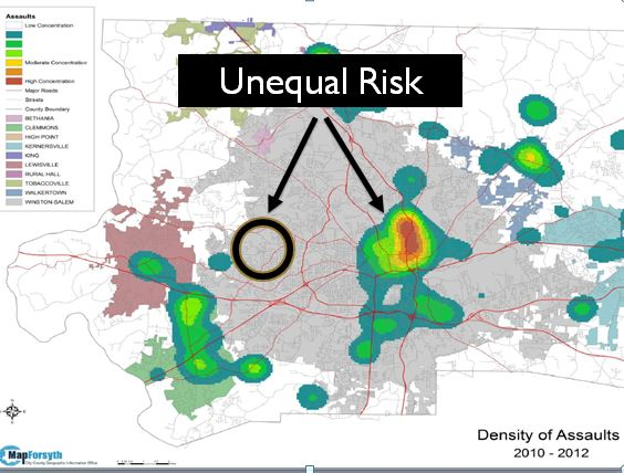 Unequal Risk of Assault in Winston Salem Graphic