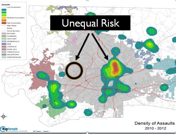 Unequal Risk of Assault in Winston Salem Graphic