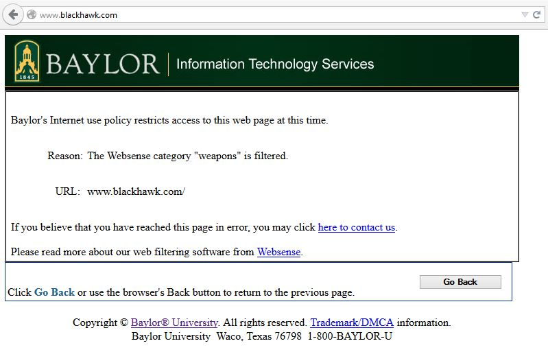 Weapons Caught in the Internet Filter at Baylor University