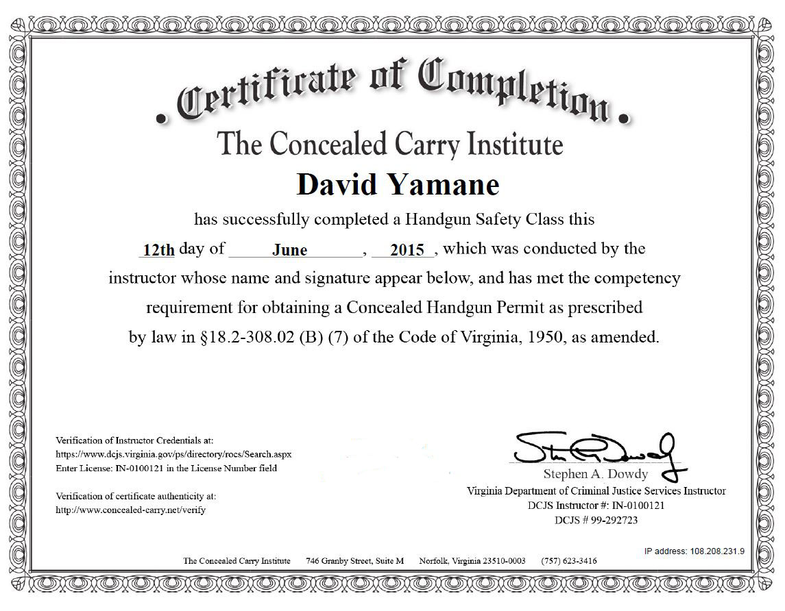 Skirting the north carolina concealed carry permit course concealed carry institute certificate of completion for virginia june 2015 xflitez Images