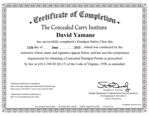 Concealed Carry Institute Certificate of Completion for Virginia June 2015