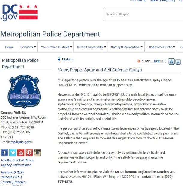 DC Pepper Spray Law