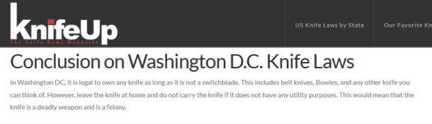 Washington DC Knife Laws