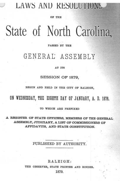 1879 Laws and Resolutions of North Carolina_Page_1
