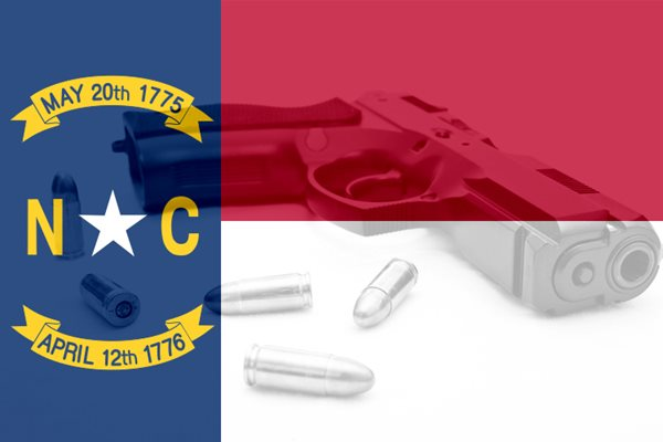 North Carolina flag and gun illustration. (wikimedia/commons; dreamstime)