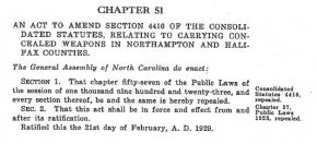 History of Concealed Carry in North Carolina, Part 6: Dumb Legislative Tinkering (1919-1935)