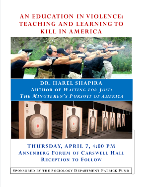 EVENT CANCELED: An Education in Violence: Teaching and Learning to Kill inAmerica