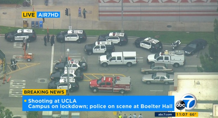 In this image made from video, police respond to a fatal shooting at the University of California, Los Angeles, Wednesday, June 1, 2016, in Los Angeles. (KABC-7 via AP) MANDATORY CREDIT