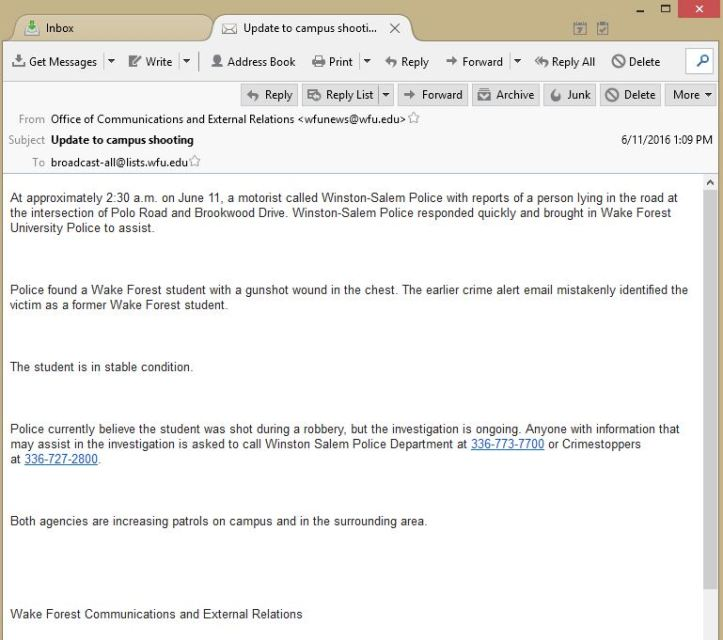 Wake Forest Shooting Email