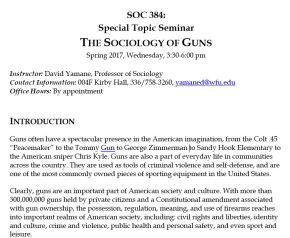 Sociology of Guns Seminar, Take 3