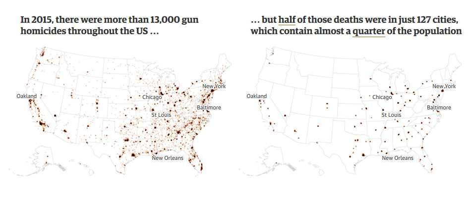 Us Gun Murders Map Globalinterco - Us flowline immigration map 17th and 18th century