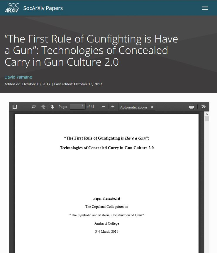 "Paper Available – ""'The First Rule of Gunfighting is Have a Gun': Technologies of Concealed Carry in Gun Culture 2.0″"