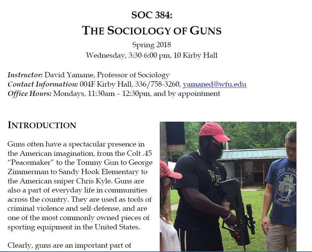 Sociology of Guns Seminar at Wake Forest University, Take 4, Spring 2018