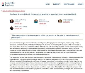 FUNDED – The Body Armor of Christ: Constructing Safety and Security in Communities of Faith