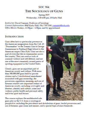 Sociology of Guns Seminar v5.0, Spring 2019
